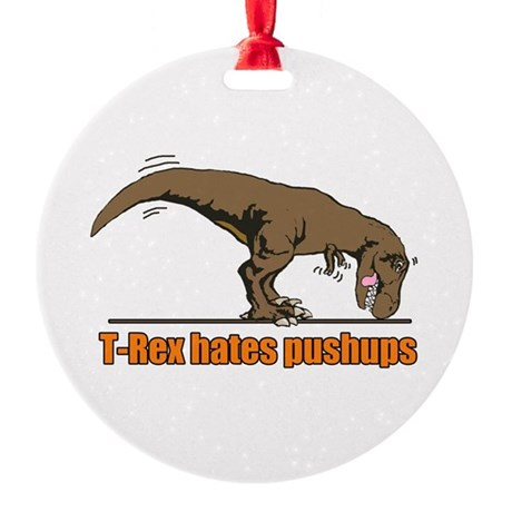 T Rex work out Round Ornament