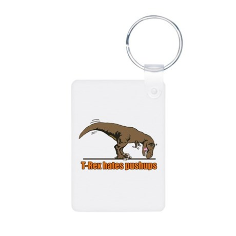 T Rex work out Aluminum Photo Keychain
