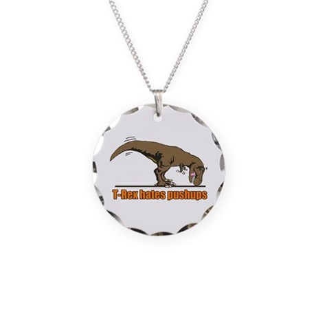 T Rex work out Necklace Circle Charm