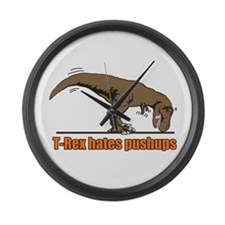 T Rex work out Large Wall Clock