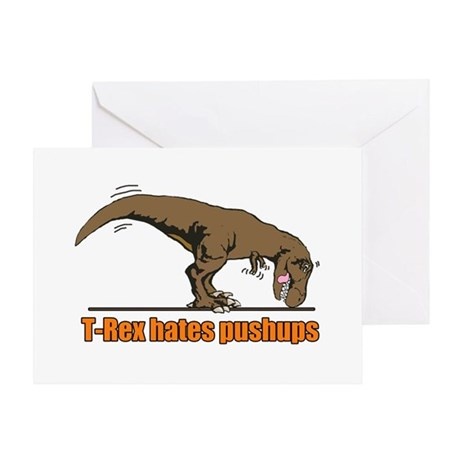 T Rex work out Greeting Card