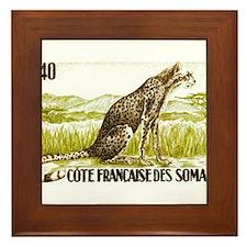1958 Somalia Cheetah Cat Postage Stamp Framed Tile