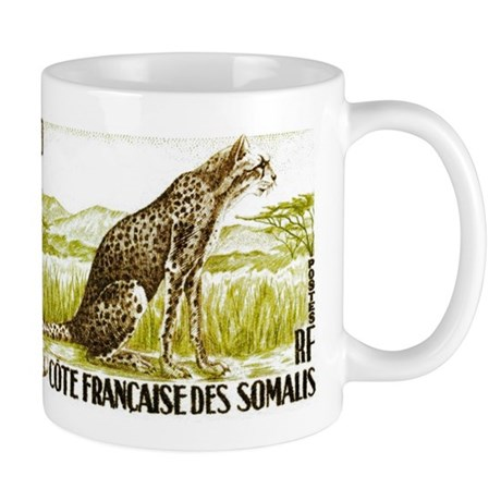 1958 Somalia Cheetah Cat Postage Stamp Mug