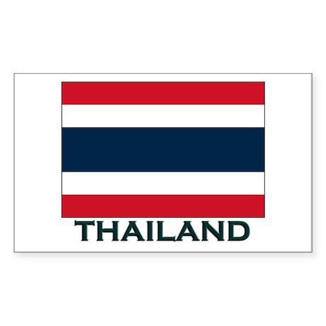 Thailand Flag Gear Rectangle Sticker