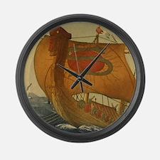 Viking Ship Large Wall Clock