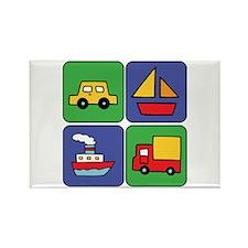 Boat & Car Squares Rectangle Magnet