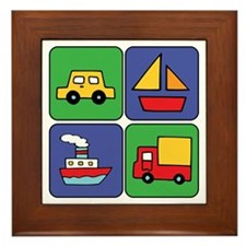 Boat & Car Squares Framed Tile