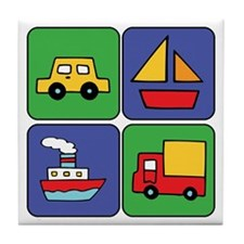Boat & Car Squares Tile Coaster