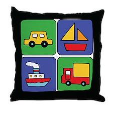 Boat & Car Squares Throw Pillow