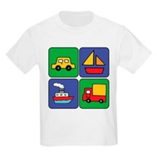 Boat & Car Squares Kids T-Shirt