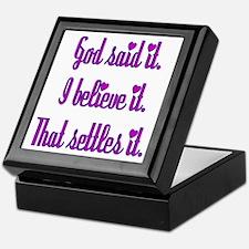 God Said It Purple Keepsake Box