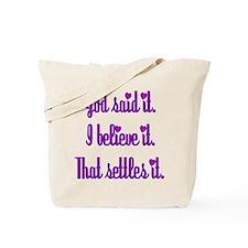 God Said It Purple Tote Bag