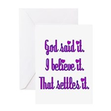 God Said It Purple Greeting Card