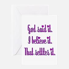 God Said It Purple Greeting Card
