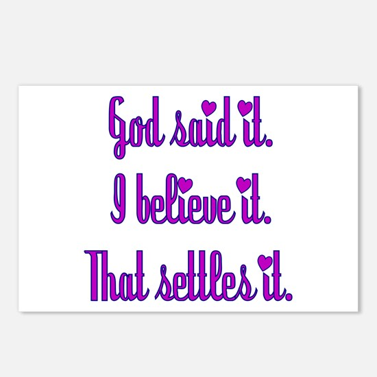 God Said It Purple Postcards (Package of 8)