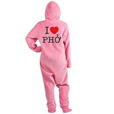 I Love (Heart) Pho Footed Pajamas