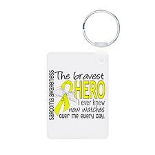 Bravest Hero I Knew Sarcoma Gifts Keychains