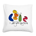 play bacteria w.png Square Canvas Pillow