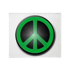 Green Peace Symbol glow Throw Blanket