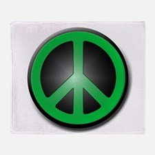 Green Peace Symbol glow Throw Blanket