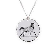 Buckskin Horse Necklace Circle Charm