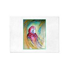 Scarlet Macaw, bird art! 5'x7'Area Rug