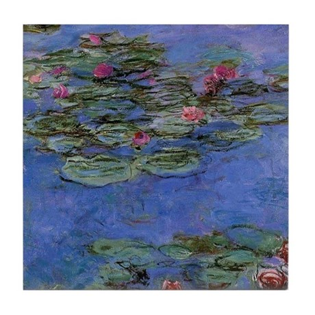 Red Waterlilies by Monet Tile Coaster