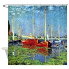 Red Boats At Argenteuil By Monet Shower Curtain