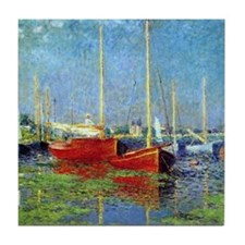 Red Boats at Argenteuil by Monet Tile Coaster