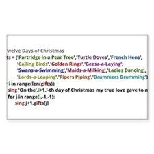 The Twelve Days of Christmas in Python Decal