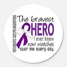 Bravest Hero I Knew Pancreatic Cancer Round Car Ma