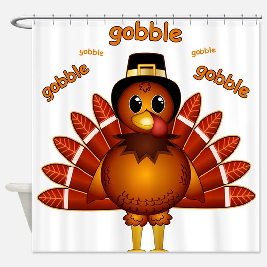 Gobble Gobble Turkey Shower Curtain