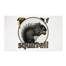 Squirrel and dogs 3'x5' Area Rug
