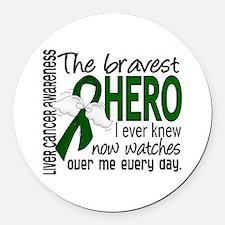 Bravest Hero I Knew Liver Cancer Round Car Magnet