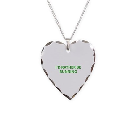 I'd Rather Be Running Necklace Heart Charm