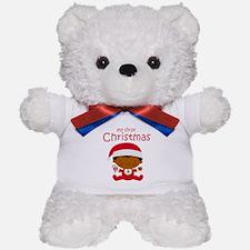 Black Boy 1st Christmas Teddy Bear