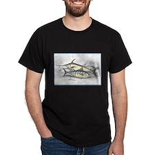 Bonito and Swordfish Fish (Front) Black T-Shirt
