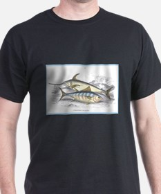 Bonito and Swordfish Fish (Front) Black T-Shirt