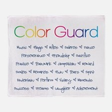 Color Guard Rainbow and Navy Blue Throw Blanket