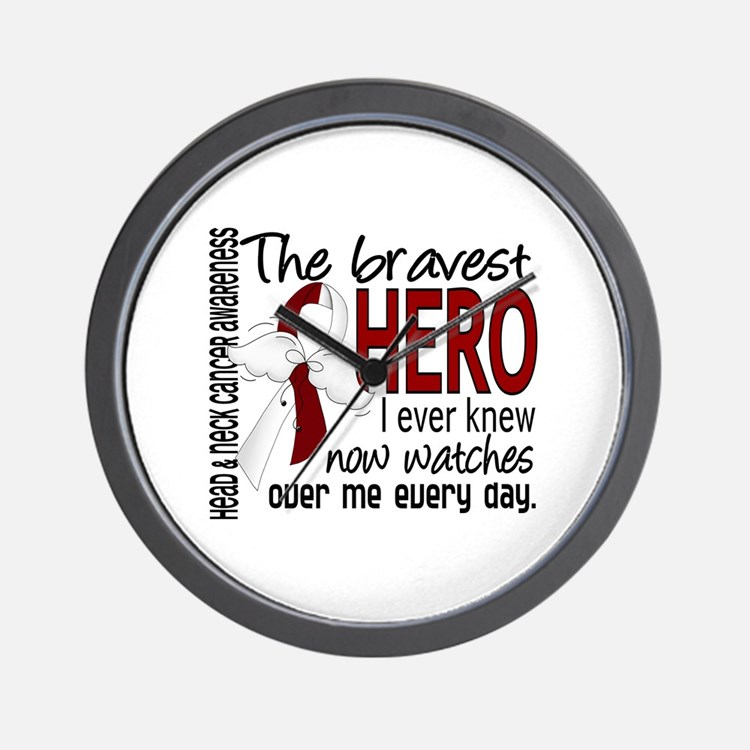 Bravest Hero I Knew Head and Neck Cancer Wall Cloc