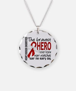 Bravest Hero I Knew Heart Disease Necklace