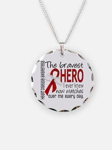 Bravest Hero I Knew Heart Disease Necklace Circle
