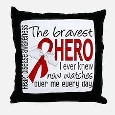 Bravest Hero I Knew Heart Disease Throw Pillow