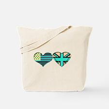 USA and UK Trendy Flag Art Tote Bag