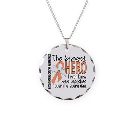 Bravest Hero I Knew Endometrial Cancer Necklace Ci