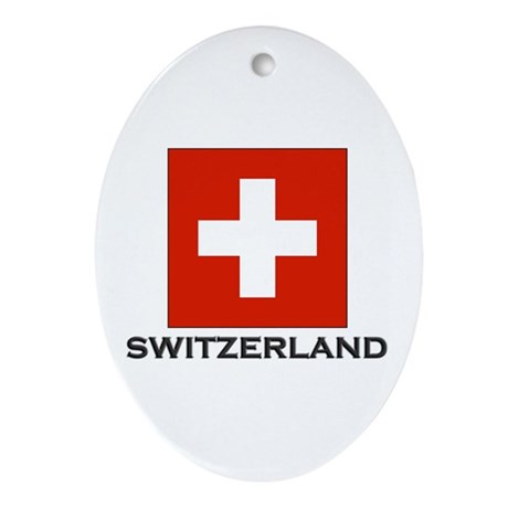 Switzerland Flag Stuff Oval Ornament