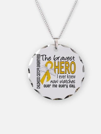 Bravest Hero I Knew Childhood Cancer Necklace