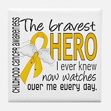 Bravest Hero I Knew Childhood Cancer Tile Coaster
