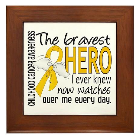 Bravest Hero I Knew Childhood Cancer Framed Tile