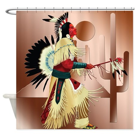 Native American Warrior with Cactus Shower Curtain